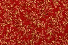 Dekorationsstoff Baumwolle - Stechpalmenzweige - Rot/Gold