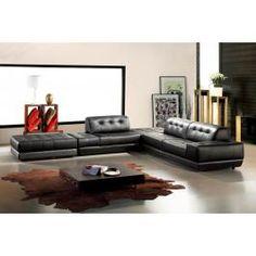 Renava 625 Italian Leather Sectional Sofa in Black