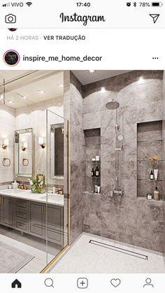 Bathroom shower design idea 14 - Home Decor Interior Glamorous Bathroom, Modern Bathroom, Small Bathroom, Master Bathroom, Brass Bathroom, Bathroom Showers, Master Baths, Master Shower, Bathroom Interior Design