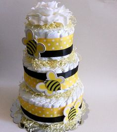 Bee themed diaper cake