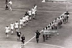 Sport Football 1970 World Cup Finals Guadalajara Mexico June 1970 Group 3 England 0 v Brazil 1 The two teams walk onto the pitch together England. 1970 World Cup, Fifa World Cup, International Football, England International, Pure Football, Bobby Moore, England Football, World Cup Final, Vintage Football