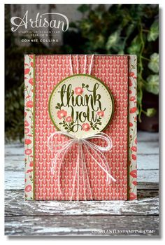 handmade thank you card ... medailing with sentiment ... luv the multi-strand white string wrap ... wonderful card ... Stampin' Up!