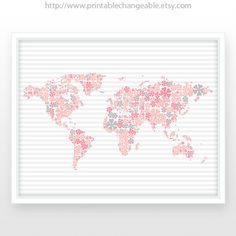 Large World Map Poster A World Map By PrintableChangeable - Pink world map poster