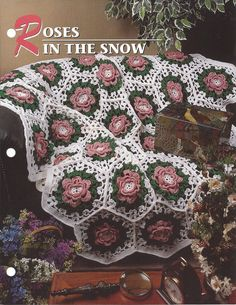 Roses In The Snow Annie's Crochet Quilt & by KnitKnacksCreations                                                                                                                                                     Mais