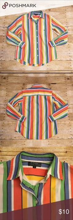 Lauren Ralph Lauren multi colored striped top S Very pretty button down top by Ralph Lauren. Small. Looks great with khakis! The striped design really makes this top stand out. There is a bit of wash wear/ wearing, but still has life to this great top! Bust- approximately 18 inches, length- approximately 23 inches, sleeve length- approximately 22.5 inches. Lauren Ralph Lauren Tops Button Down Shirts