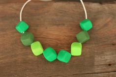 Shades of Green - clay bead necklace, squares on cotton waxed cord