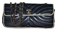 47acda3ee271 Vstich Chevron East Single Flap Medium Matte Gold Hw Black and Beige  Leather Shoulder Bag