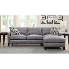 Griffith Top Grain Leather Sectional, Pebble Beach Gray