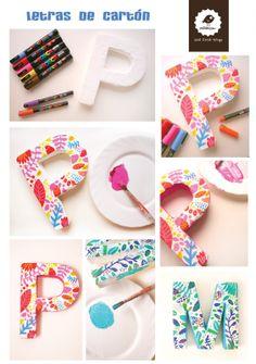 tutorial letras carton por milanesa-V parte Diy tutorial letters - buypyg Diy Crafts Love, Diy Crafts For Gifts, Love Craft, Diy Craft Projects, Craft Tutorials, Craft Ideas, Cardboard Letters, Paper Mache Letters, Craft Letters