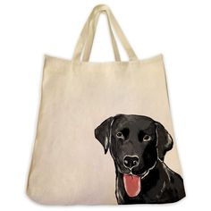 Black Labrador Retriever Dog Tote Extra Large Cotton Twill Eco Friendly Tote Bag Made By Tote Tails >>> Read more info by clicking the link on the image. Black Labrador Retriever, Dogs Golden Retriever, Labrador Retrievers, Dog Tote Bag, Dog Shop, Handmade Handbags, Dog Carrier, Dog Harness, Animal Design