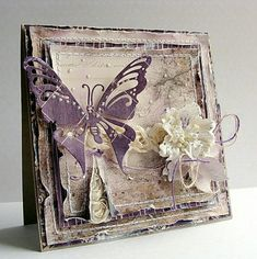 Butterfly and Orchid Card Butterfly Cards, Flower Cards, Mixed Media Cards, Shabby Chic Cards, Beautiful Handmade Cards, Pretty Cards, Card Maker, Card Tags, Creative Cards