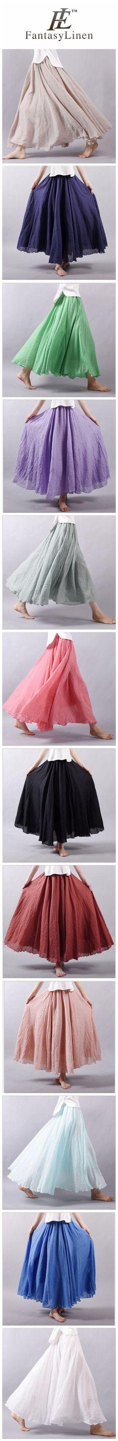 MULTICOLOR SUN SKIRT ELASTIC WAIST COTTON LINEN SKIRT BIG HEM LONG SKIRT WOMEN CLOTHES S1725