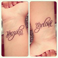 Nice Ambigram Family Tattoo