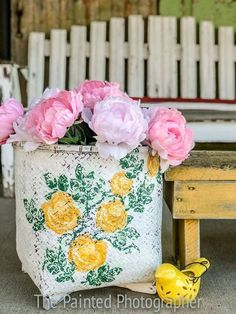 Image may contain: flower, plant and outdoor Painted Wicker, Hand Painted, Cabbage Flowers, Pretty Flowers, Diy Painting, Wicker Baskets, Boho Decor, Mittens, Planter Pots