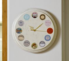 Use vintage apothecary labels and Mod Podge to decorate a wood clock