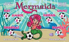 Mermaids-44308  digitally printed vinyl soccer sports team banner. Made in the USA and shipped fast by BannersUSA. www.bannersusa.com