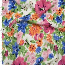 Pink and Green Spring Floral on White Rayon Gauze