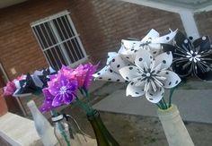 Ramos de flores de origami