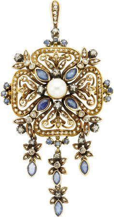 Antique Diamond, Sapphire, Cultured Pearl, Silver-Topped Gold Pendant-Brooch  The pendant-brooch features marquise and round-shaped sapphires weighing a total of approximately 2.00 carats, enhanced by rose-cut diamonds, accented by a cultured pearl measuring 7.10 x 7.14 mm, set in silver-topped gold, completed by a pinstem, catch and fold down bail, Portuguese hallmarks
