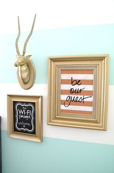 Striped Wall Guest Bedroom –  love the welcoming touches on the wall and the fun colors