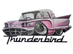 Messing with some Koolart again, done on Ford Thunderbird Car Drawing Pencil, Cool Car Drawings, Tractor Pictures, Car Tattoos, Top Luxury Cars, Garage Art, Weird Cars, Cool Cartoons, Animated Cartoons