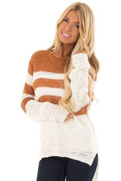 a63145f490e7 Ivory and Rust Striped Long Sleeve Loose Knit Top. Lime Lush Boutique