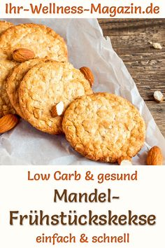 Bake Easter cookies: almond breakfast cookies - low-carb recipe without sugar - Low-carb recipe for almond breakfast cookies: A quick breakfast with healthy cookies without sugar - Vegan Breakfast Recipes, Healthy Dessert Recipes, Low Carb Recipes, Breakfast Tea, Breakfast Cookies, Cookies Healthy, Fast Low Carb, Easter Cookies, Easy Meals
