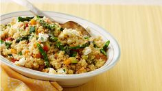 Quinoa and Vegetable Pilaf | Dashrecipes.com (I used 1 cup broth & 3/4 cup water to reduce the sodium content & used 2T oil). Very delicious.
