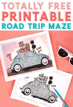 print off these free retro road trip themed mazes as a fun and easy kids activity for your next vacation