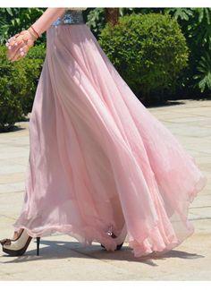 Women's chiffon aline skirt bohemian maxi skirt long skirt summer ...