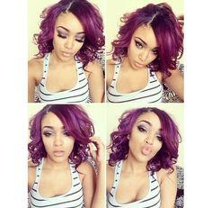 Maroon curls. Cute hair.