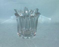 Vintage Cut Glass Clear Flower Vase Votive Holder