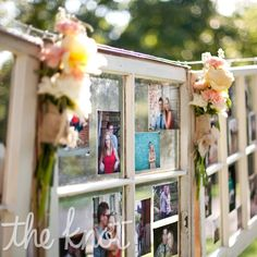 """Windowpane Photo Display- cute idea- could make a good """"guest book"""" too if everyone brought/took a photo"""