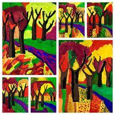 Осенний пейзаж. Художникам 5-8 лет. #осень #пейзаж #осеннипейзаж #рисуютдети #картиназаодинурок #мастерклассживопись #изостудиядари #типанова