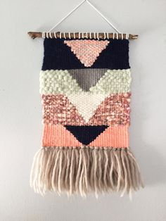 Woven Wall Hanging pink navy grey mint geometric by JunahWoods Weaving Textiles, Tapestry Weaving, Loom Weaving, Weaving Projects, Diy Craft Projects, Textile Fiber Art, Yarn Thread, Hand Art, Woven Wall Hanging