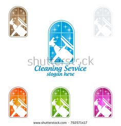 House Cleaning Vector Logo Design, Eco Friendly with shiny glass brush and spray Concept isolated on white Background Cleaning Service Logo, Vector Logo Design, Clean House, Royalty Free Stock Photos, Concept, Interior, Eco Friendly, Glass, Copyright Free Images
