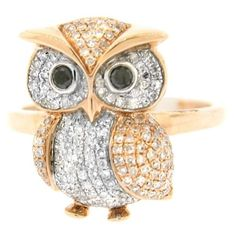 Pre-owned 14K Rose Gold Diamond Owl Ring ($875) ❤ liked on Polyvore featuring jewelry, rings, pre owned diamond rings, 14k rose gold jewelry, owl diamond ring, owl jewelry and rose gold diamond ring