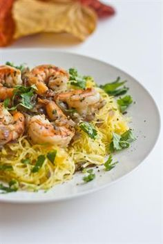 21 Healthy Spaghetti Squash Recipes: Roasted Spaghetti Squash with Shrimp Pasta, fresh rosemary, fresh thyme, fresh cilantro