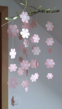 Tree branch, paper and gift ribbon - craft ideas Mobile; Branch paper and gift ribbon Mobile; Branch paper and gift ribbon The post Mobile; Branch paper and gift ribbon appeared first on craft ideas. Gift Ribbon, Ribbon Crafts, Flower Crafts, Kids Crafts, Easter Crafts, Diy And Crafts, Ribbon Mobile, Valentine's Day Diy, Diy For Girls