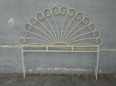 Mid Century Modern Full Size Peacock Design Metal Headboard Cream  (Los Angeles). $150.00, via Etsy. -- LOVE THIS! What a shame it's only full size :'(