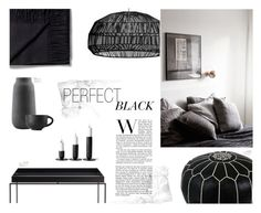 """""""Perfect Black"""" by nmkratz ❤ liked on Polyvore featuring interior, interiors, interior design, home, home decor, interior decorating, House Doctor and Menu"""