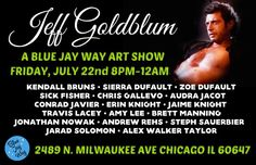 Tonight 8pm-12am @bluejaywayvintage presents a Jeff Goldblum Art Show. See work from 17 different artists while enjoying snacks and beer!  #jeffgoldblum #localart #artists #chicagovintage #chicagonightlife #artshow #logansquare