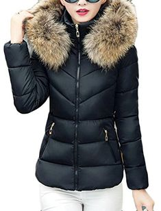 35baecaa1af4d GenericWomen Generic Womens Winter Solid Color Long Sleeve Faux Fur Collar  Hooded Short Down Jacket. queenar · Women s Coat Plus Size