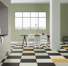 Marmoleum Click Cinch Loc naturally water-resistant flooring consists of linoleum mounted onto HDF w/ cork backing. Linoleum Flooring, Kitchen Flooring, Wood Flooring, Click Flooring, Home Interior, Interior Design, Floating Floor, Floating Vinyl Flooring, Natural Flooring