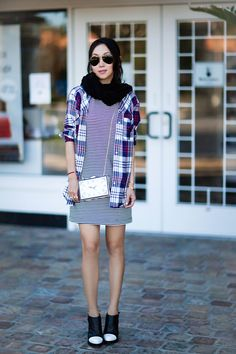 Splendid Belmont Stripe Dress, Ace Delivery Plaid Shirt, Alexander Wang black and white heels, Vintage Clock Hardcase Clutch, Fall style, casual style, Ray-Ban original aviator