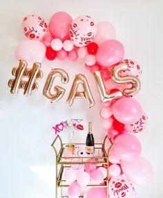 day party Galentine Balloons, Valentine Balloon Garland, Balloon Garland, Valentine Balloons, Valentines Day P Funny Valentine, Roses Valentine, Valentine Theme, Valentines Day Decorations, Valentines Day Party, Valentine Photos, Valentine Nails, Valentine Ideas, Valentinstag Party