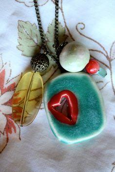 Handmade--Ceramic Charm Necklace. So fun! $25.00