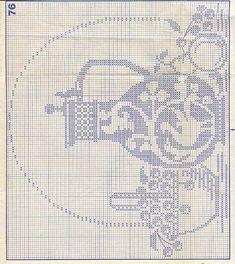 crochet filet coffee pot and fruit Filet Crochet Charts, Crochet Motifs, Crochet Diagram, Crochet Doilies, Crochet Patterns, Crochet Curtains, Crochet Tablecloth, Yarn Thread, Thread Crochet