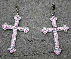 Shop now at www.gugonline.com and use the discount code GUGREPKCAR for 10% off your entire purchase! AB Crystals on Bronze Cross Earrings PINK PANACHE $36.95