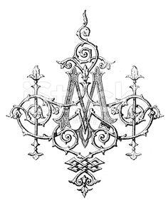 Antique illustration of ornate capital letter M royalty-free stock illustration
